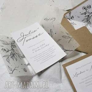 beżowe ślub piękne zaproszenie ślubne