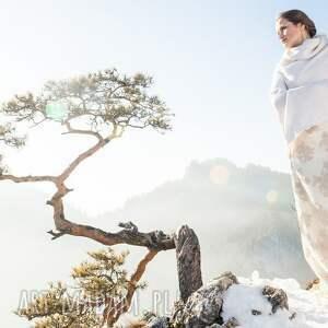 ślub białe poncho z wełny merino i kaszmiru
