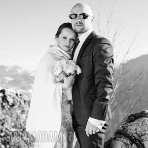 szare ślub poncho z wełny merino i kaszmiru
