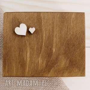Pudełko na obrączki ślubne - motyw serca ślub