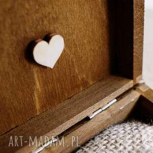 brązowe ślub pudełko na obrączki ślubne - motyw