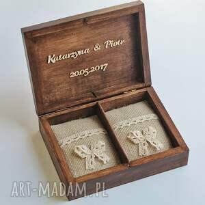 ślub drewno pudełko na obrączki - dwa serca