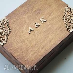 brązowe ślub pudełko na obrączki z