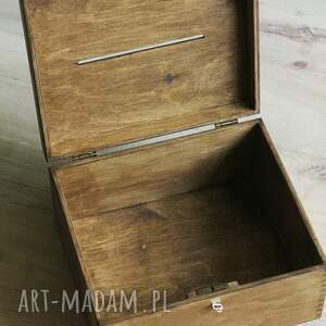 efektowne ślub drewno pudełko z kluczykiem - 2 serca