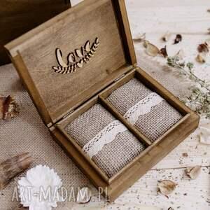 ślub białe rustykalny zestaw ślubny - pudełko