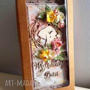 kartka pudełko ślub różowe ślubna z okienkiem