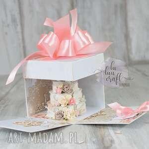 różowe ślub pudełko ślubny exploding box -
