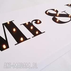 dekoracja ślub świecący napis mr & mrs prezent