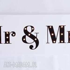 unikalne ślub dekoracja świecący napis mr & mrs obraz led