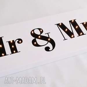 ślub dekoracja świecący napis mr & mrs prezent