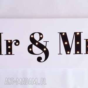 urokliwe ślub mr-and-mrs świecący napis mr & mrs prezent