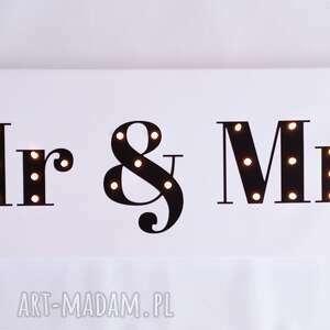 urokliwe ślub mrandmrs świecący napis mr & mrs prezent dekoracja