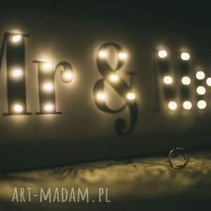 unikalne ślub oświetlenie ******świecący napis mr & mrs - piękna dekoracja
