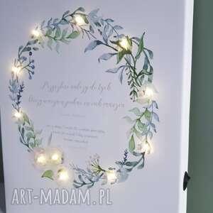 turkusowe ślub świecący obraz led wianek prezent