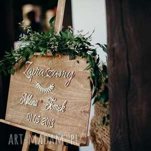 drewniana ślub tablica powitalna na wesele /
