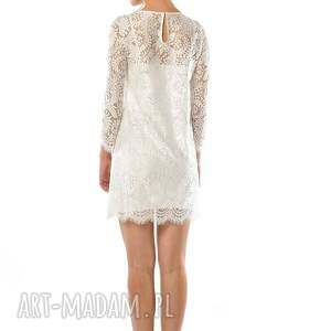 eleganckie ślub sukienka %wietlana mini - koronkowa