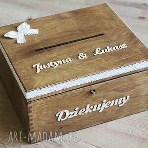 trendy ślub drewno zestaw pudełek - na koperty i