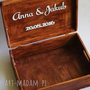 brązowe ślub drewno zestaw pudełek - na obrączki i