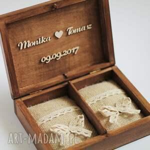 brązowe ślub drewno zestaw pudełek - na obrączki