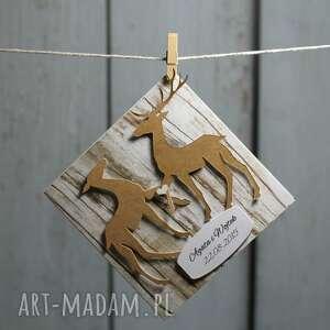 brązowe ślub prezent zestaw ślubny z jeleniami
