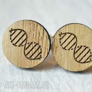 brązowe spinki do mankietów drewniane dębowe