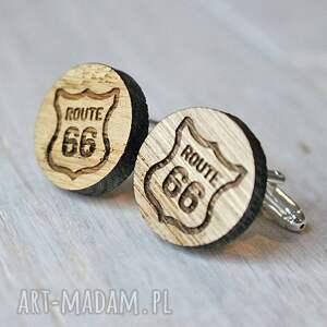 brązowe spinki do mankietów drewniane dębowe road 66