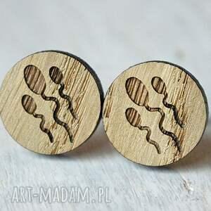 beżowe spinki do mankietów drewniane dębowe bardzo