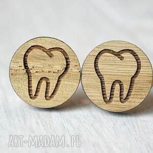 beżowe spinki do mankietów ząb dębowe dla