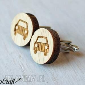 trendy spinki do mankietów drewniane auto
