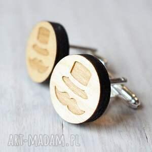 ręcznie zrobione spinki do mankietów drewniane