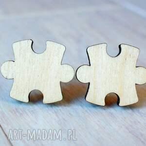 drewniane spinki do mankietów puzzle