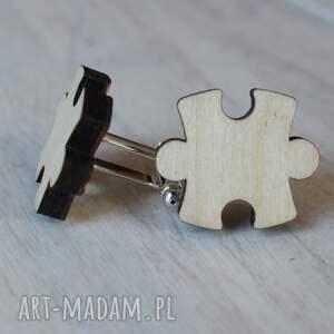 drewniane spinki do mankietów puzzle brzozowe