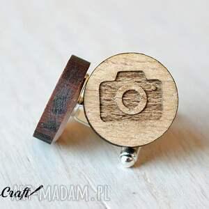 srebrne spinki do mankietów bukowe drewniane