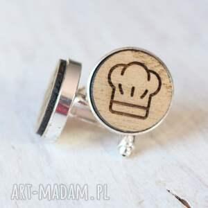 trendy spinki do mankietów kucharz drewniane