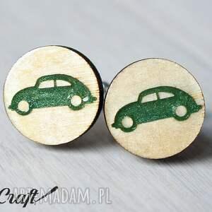 beżowe spinki do mankietów drewniane auto