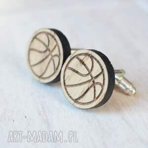 srebrne spinki do mankietów piłka drewniane