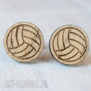 brązowe spinki do mankietów piłka drewniane