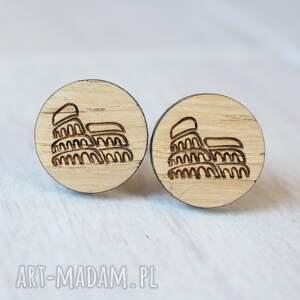 brązowe spinki do mankietów rzym drewniane