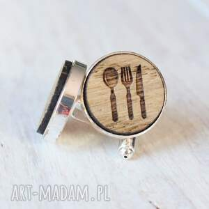 brązowe spinki do mankietów sztućce drewniane