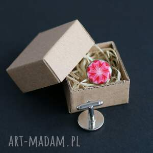 spinki do mankietów czerwone mankietów, kwiaty