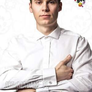 białe spinki do mankietów do polska