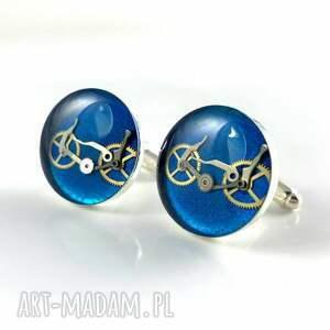 handmade spinki do mankietów - bike - blue
