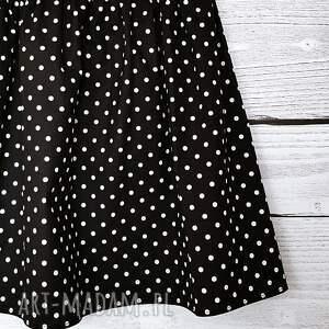 czarne spódnice w-kropeczki bawełniana spódniczka w białe