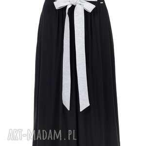 spódnice long czarna spódnica do kostek z kokardą