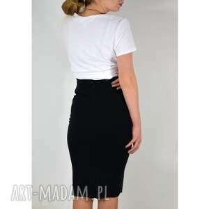 dzianina spódnice dzianinowa, bawełniana, czarna spódnica