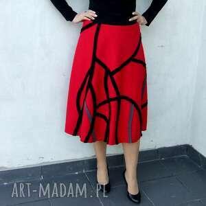 ręczne wykonanie spódnice spódnica czerwona midi