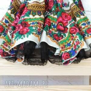 168dc6a5 Damska biała spódnica góralska z chusty FOLK CLEO