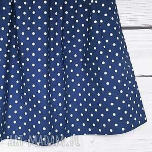 niebieskie spódnice w-kropki granatowa spódniczka w białe