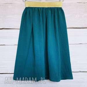 turkusowe spódnice malachit muślinowa spódnica na złotej gumie