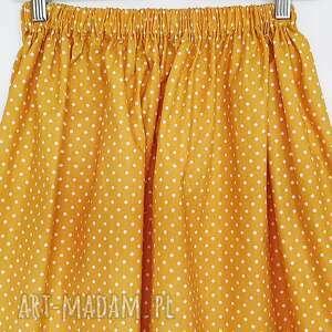 Du Nord spódnice: Musztardowa Spódniczka w kropeczki - Hand Made w kropki